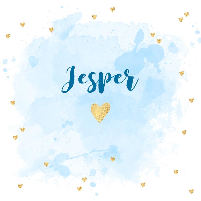 Geboortekaartjes - Geboortekaartje aquarel hartjes goud blauw