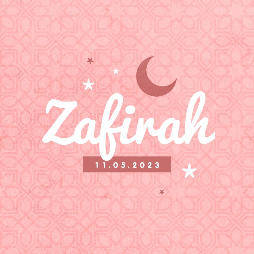 Geboortekaartjes - Geboortekaartje Arabisch patroon meisje sterren maan