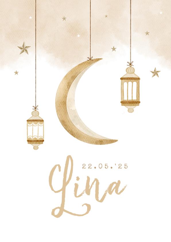 Geboortekaartjes - Geboortekaartje Arabisch unisex maan sterren windlicht