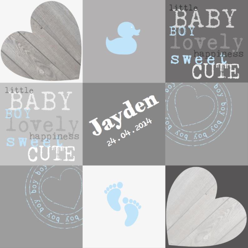 Geboortekaartjes - Geboortekaartje Babyboy Vakjes