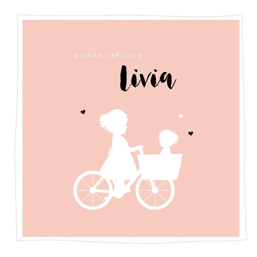 Geboortekaartjes - Geboortekaartje bakfiets zus met zusje vierkant silhouet