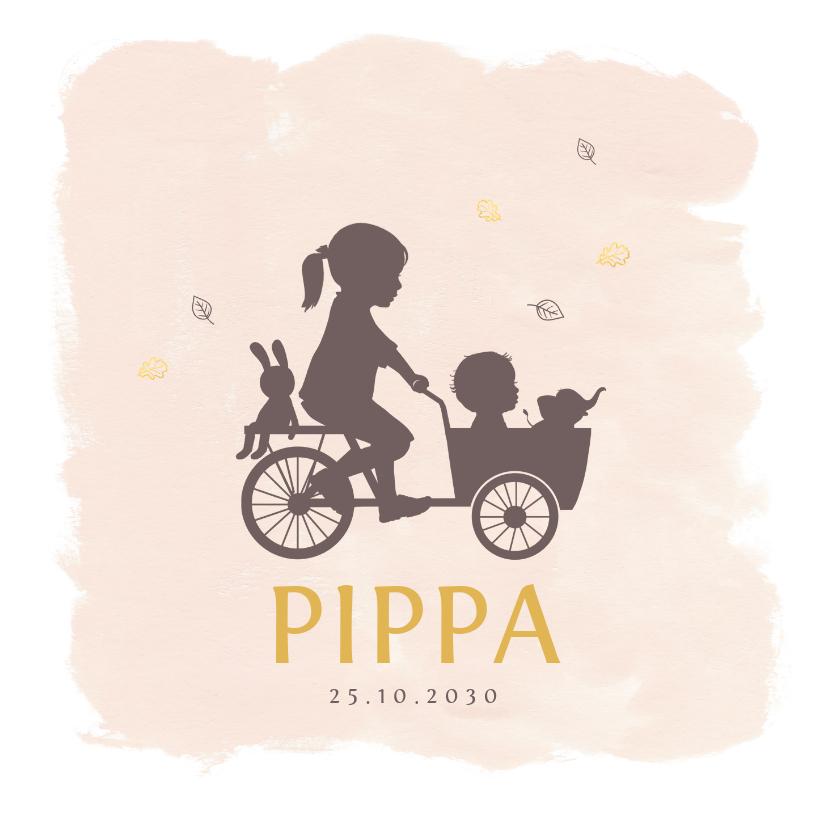 Geboortekaartjes - Geboortekaartje bakfietsje met zusjes watercolor