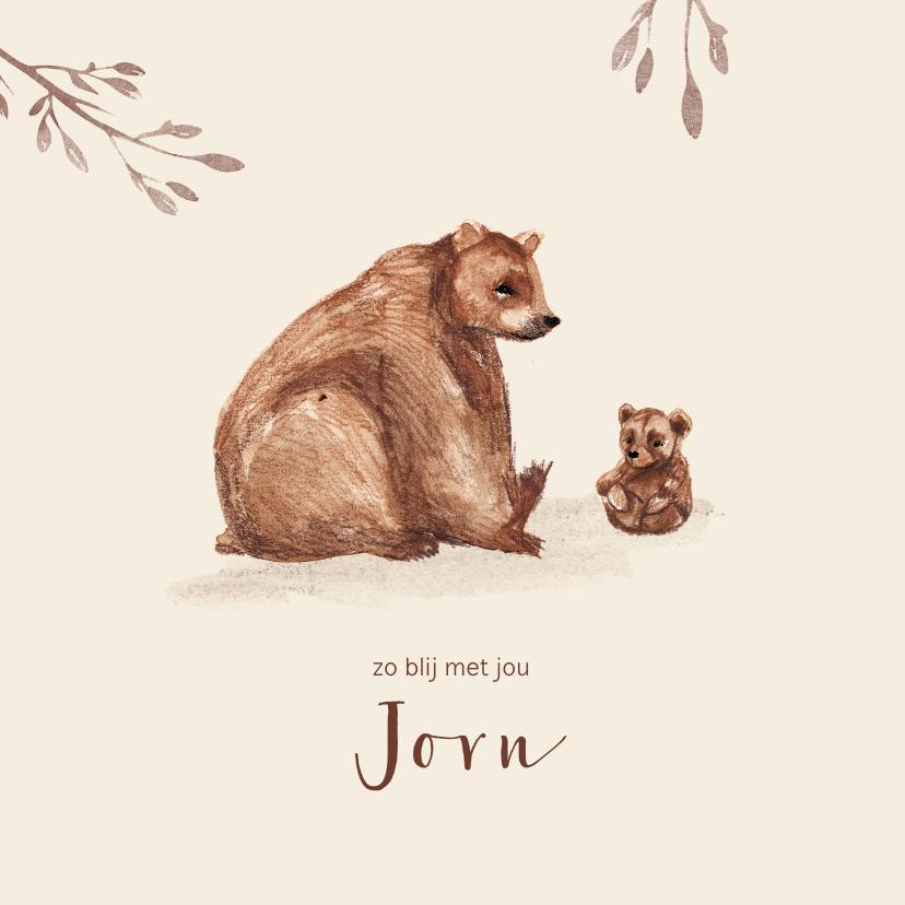 Geboortekaartjes - Geboortekaartje beer met kleine beer en takjes