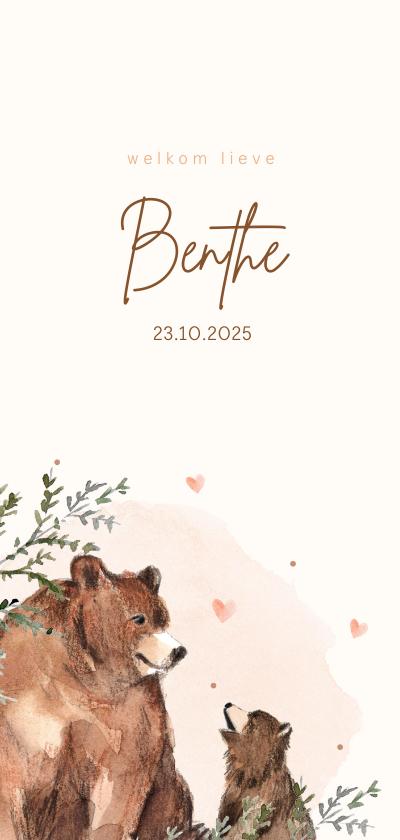 Geboortekaartjes - Geboortekaartje beer roze waterverf groene takjes