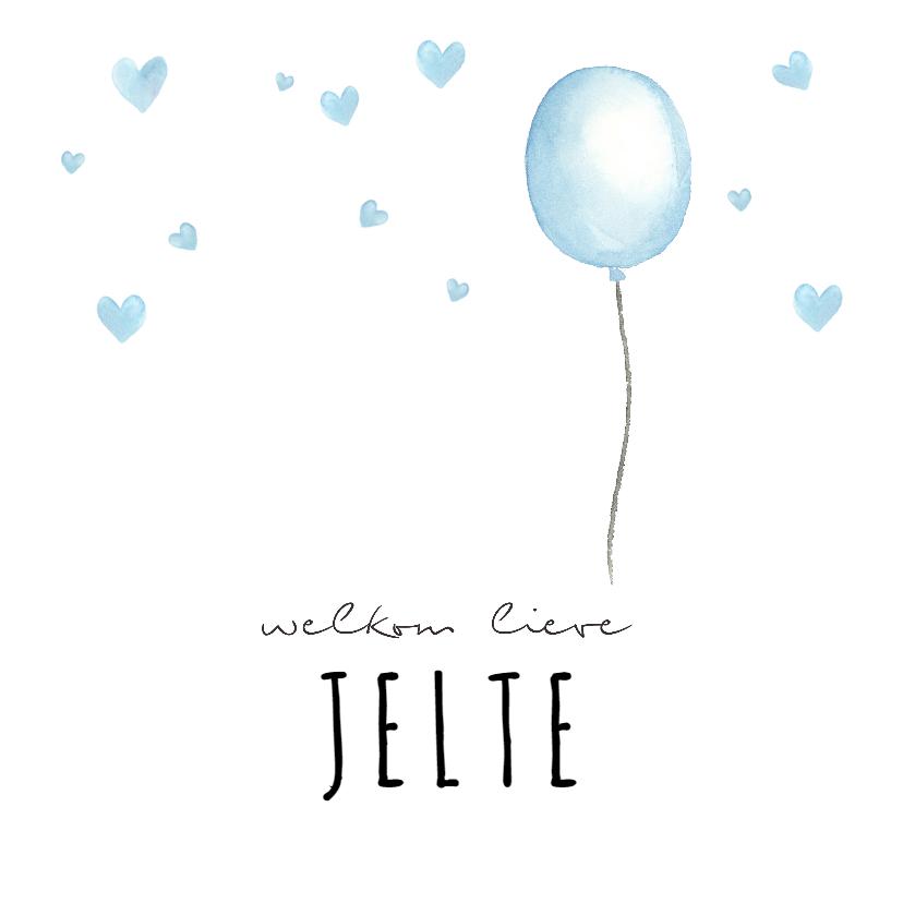 Geboortekaartjes - Geboortekaartje blauwe waterverf ballon met hartjes