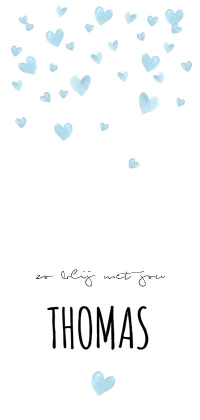 Geboortekaartjes - Geboortekaartje blauwe waterverf hartjes voor een jongen