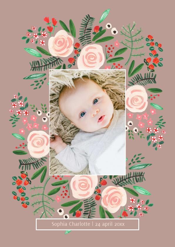 Geboortekaartjes - Geboortekaartje bloemen botanisch