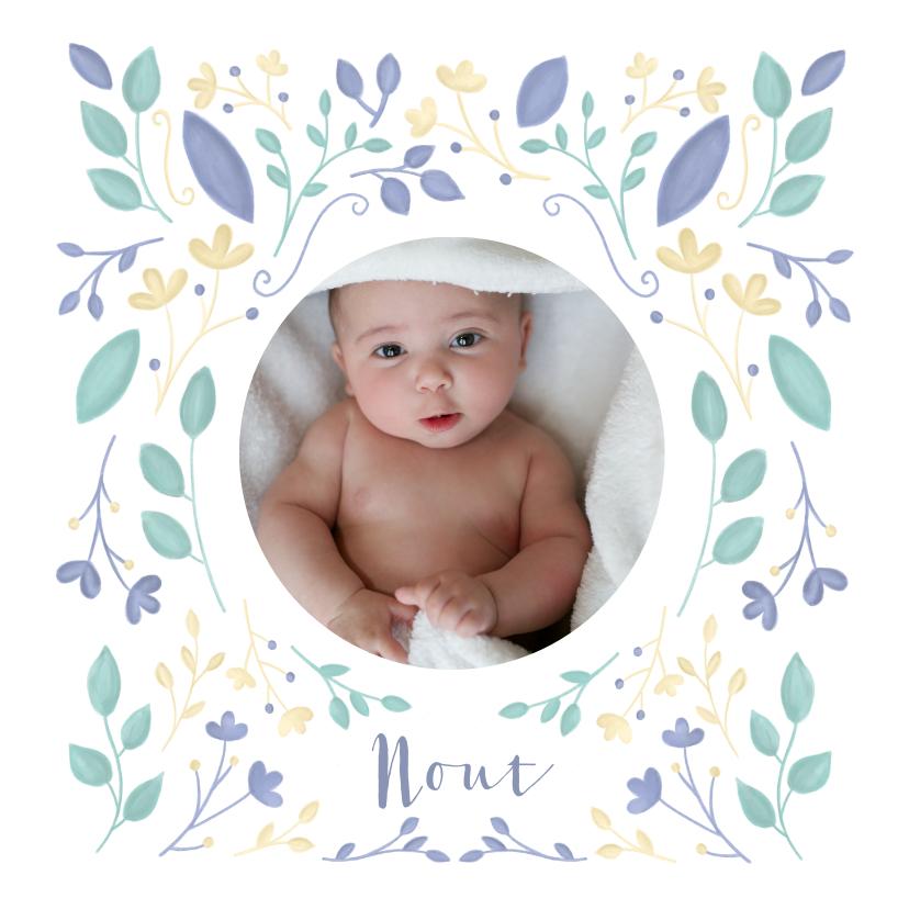 Geboortekaartjes - Geboortekaartje bloemen geïllustreerd jongen