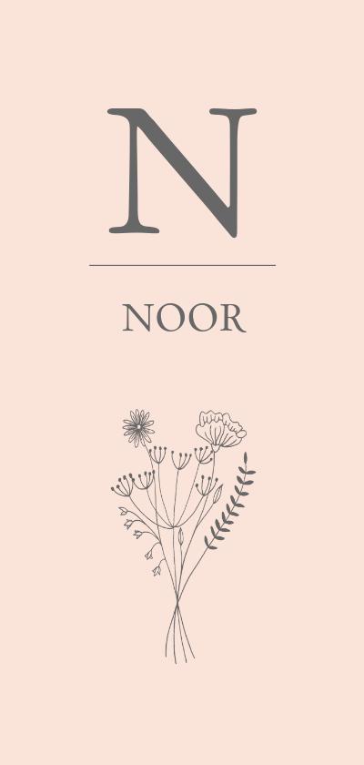 Geboortekaartjes - Geboortekaartje bloemen letter meisje