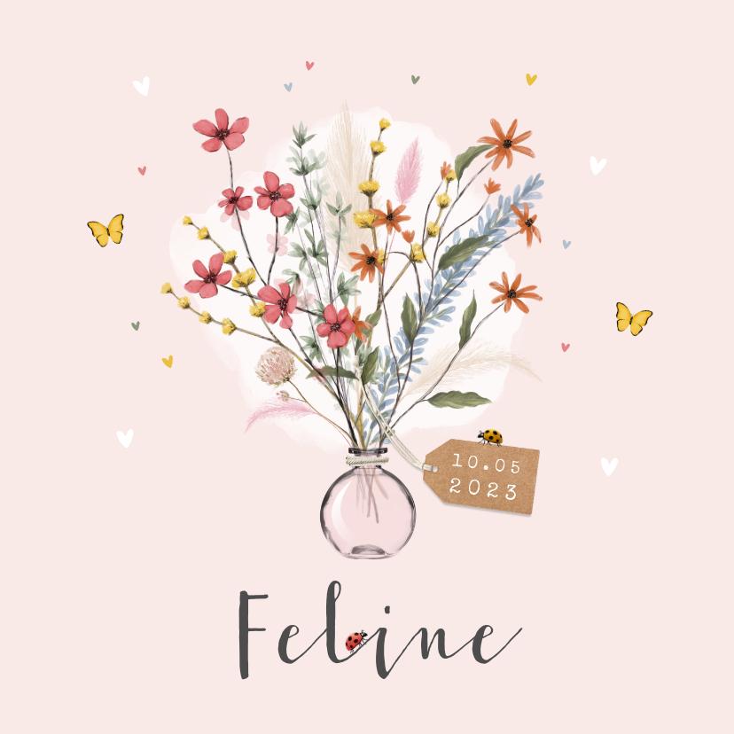 Geboortekaartjes - Geboortekaartje bloemen lief hartjes label vlinders