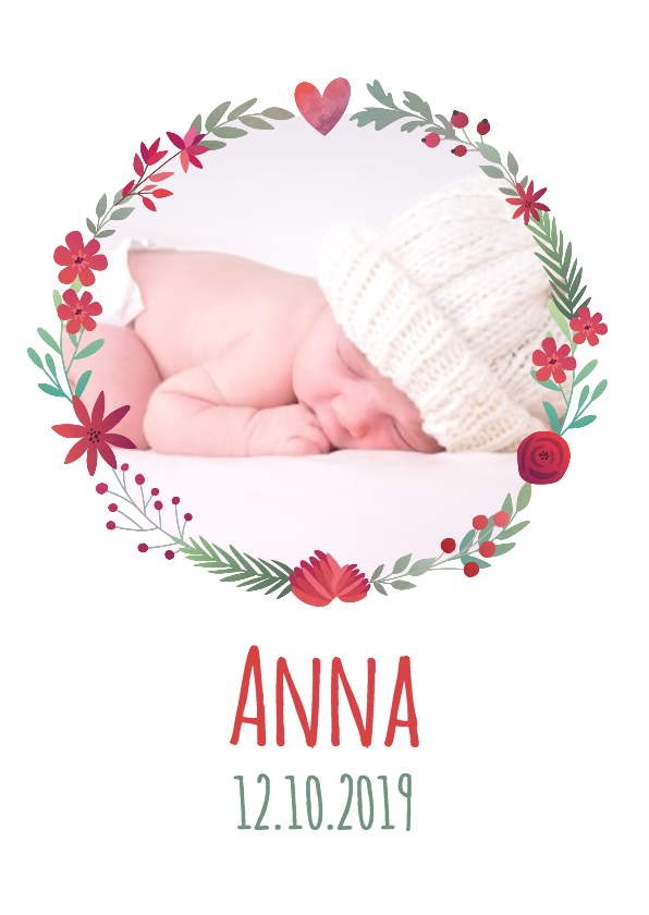 Geboortekaartjes - Geboortekaartje bloemenkrans rood