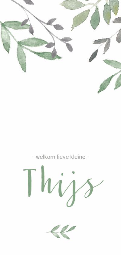 Geboortekaartjes - Geboortekaartje botanisch met groene en grijze takjes