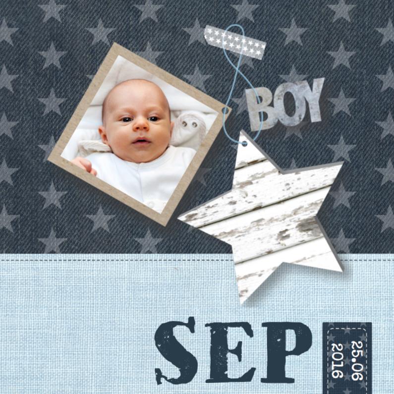 Geboortekaartjes - Geboortekaartje Boy Stars & Foto