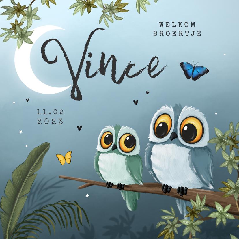 Geboortekaartjes - Geboortekaartje broertje uil vlinders jungle boom sterren