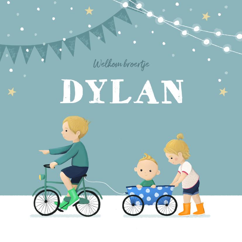 Geboortekaartjes - Geboortekaartje broertje zusje fiets feestje slingers