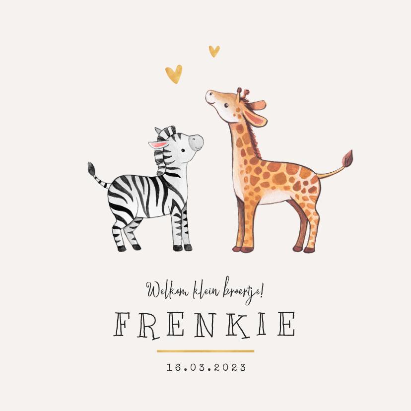 Geboortekaartjes - Geboortekaartje broertje zusje giraf zebra hartje goud