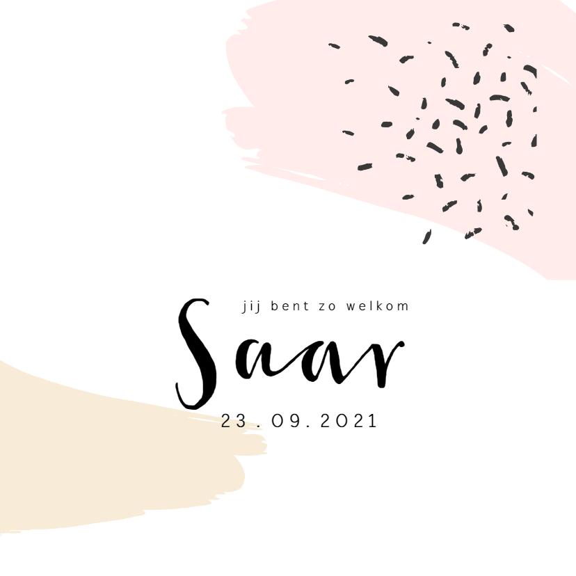 Geboortekaartjes - Geboortekaartje brush roze en geel met confetti