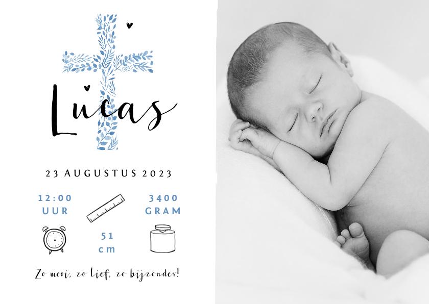 Geboortekaartjes - Geboortekaartje christelijk jongen kruis stijlvol foto