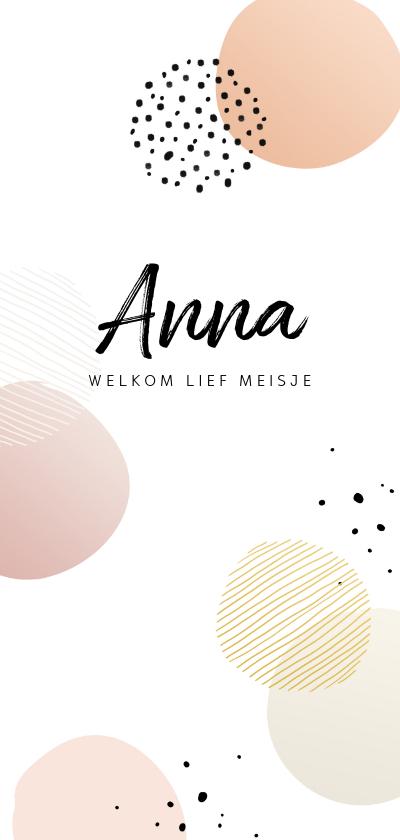 Geboortekaartjes - Geboortekaartje cirkels roze tinten staand