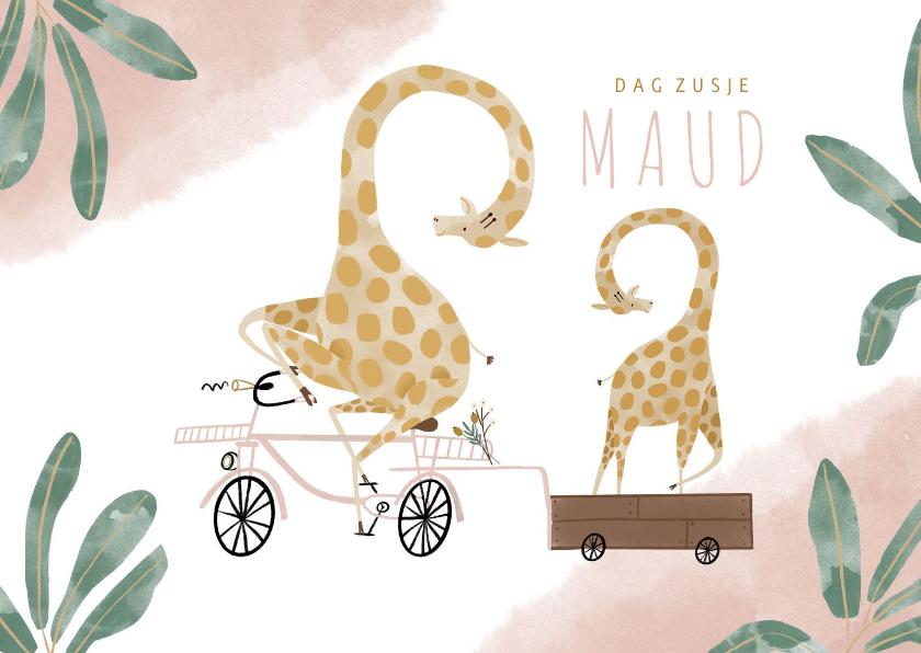Geboortekaartjes - Geboortekaartje dag zusje giraffen fiets roze waterverf