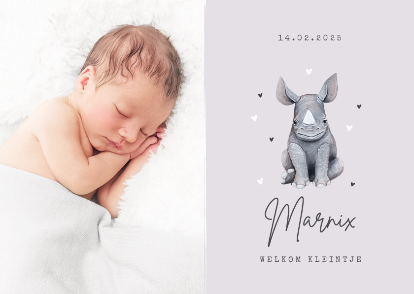 Geboortekaartjes - Geboortekaartje dieren neushoorn hartjes foto