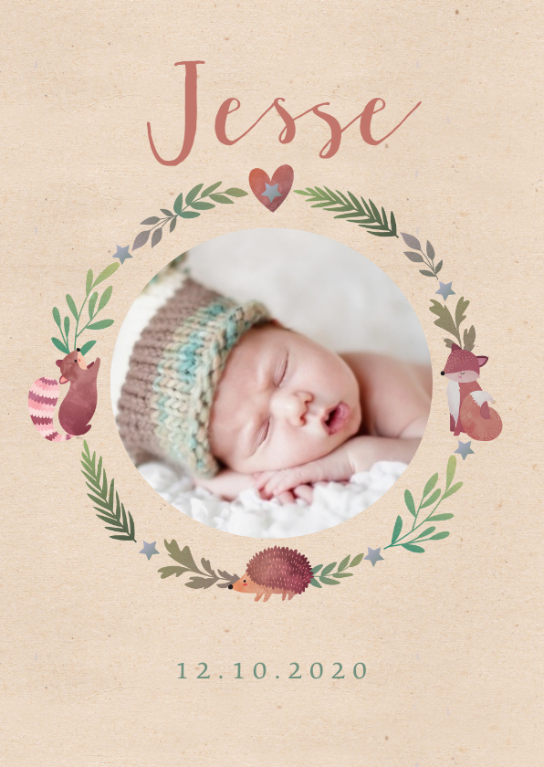 Geboortekaartjes - Geboortekaartje dierenkrans lief