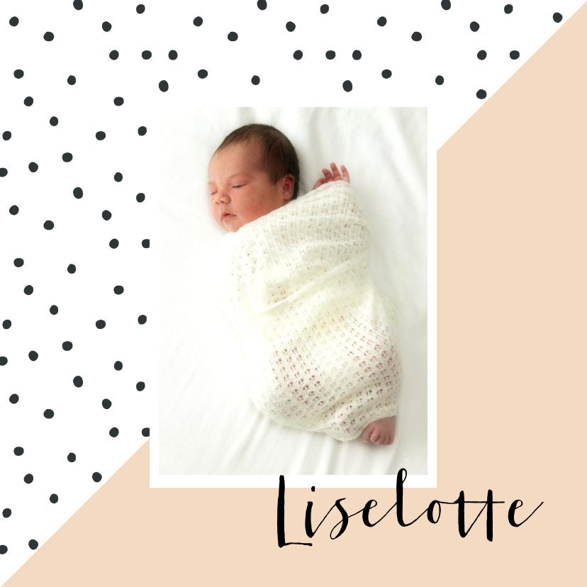 Geboortekaartjes - Geboortekaartje dots, aanpasbare kleur