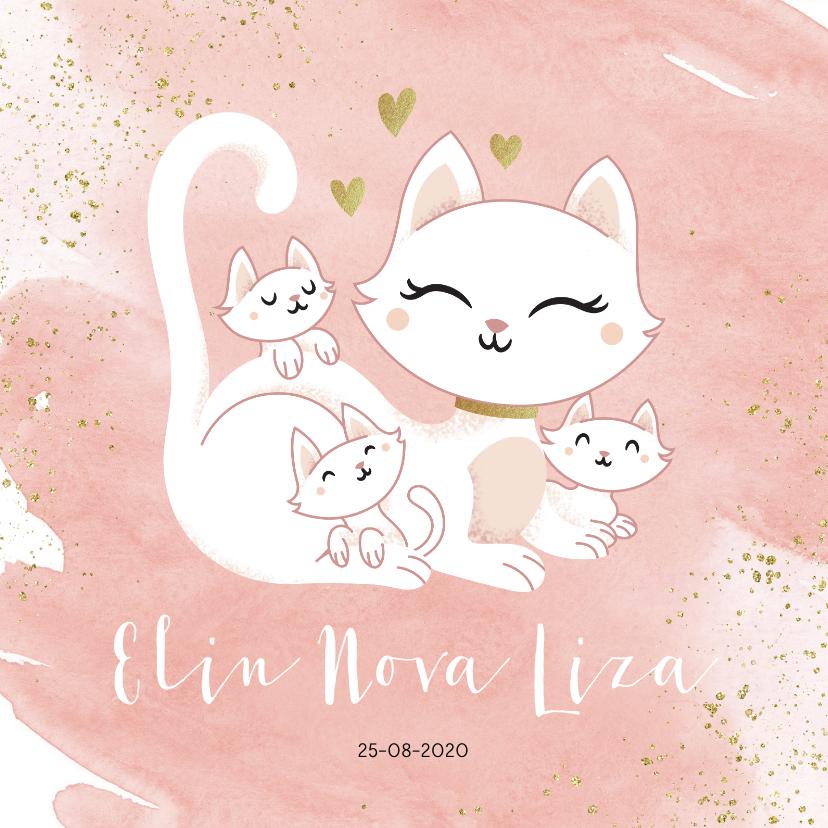 Geboortekaartjes - Geboortekaartje drieling meerling meisjes poes met kittens