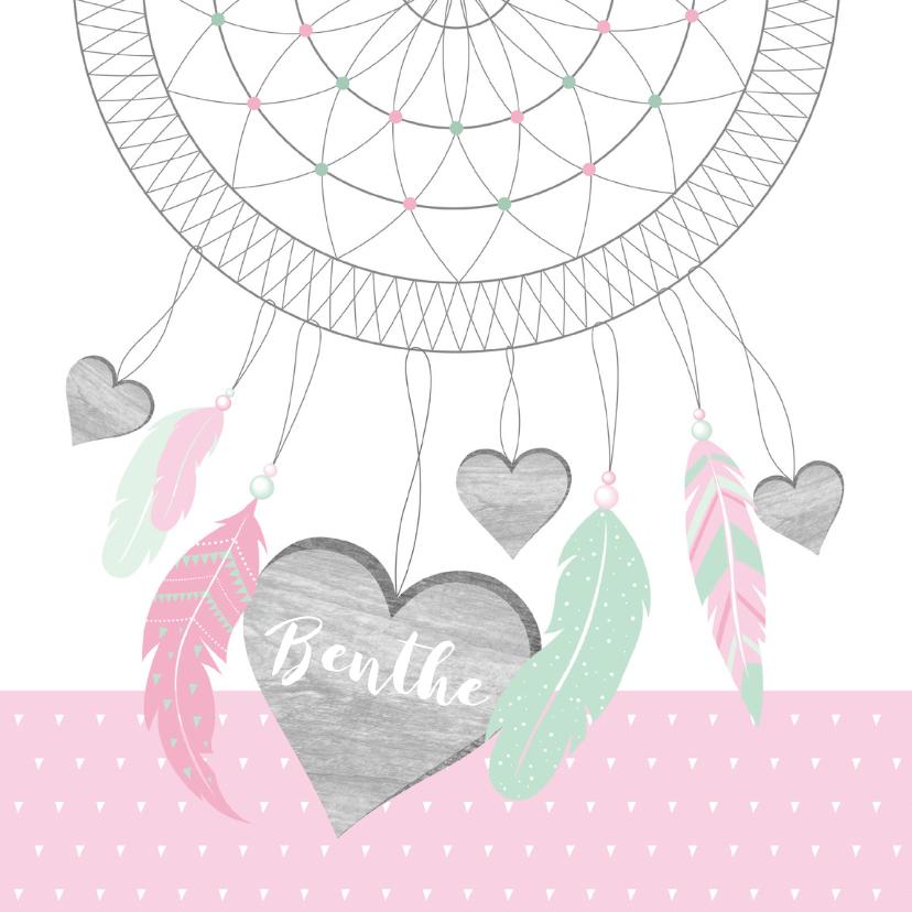 Geboortekaartjes - Geboortekaartje dromenvanger hartjes meisje