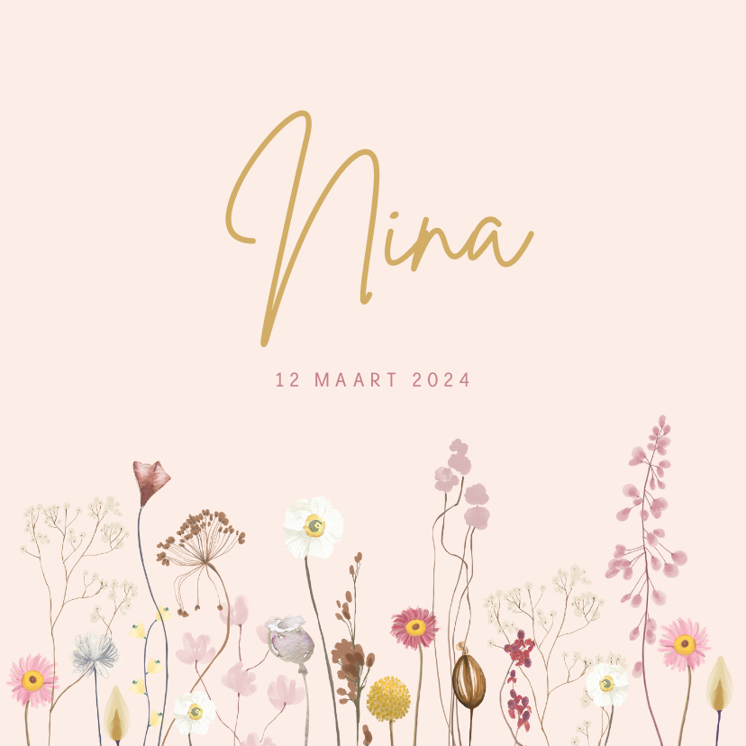 Geboortekaartjes - Geboortekaartje droogbloemen roze vierkant