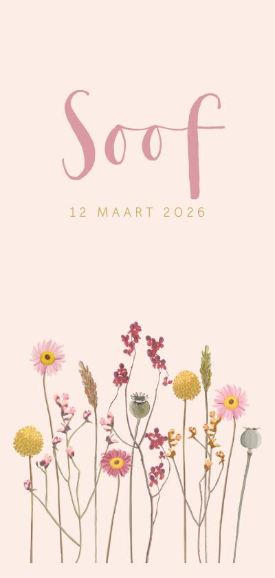 Geboortekaartjes - Geboortekaartje droogbloemen roze