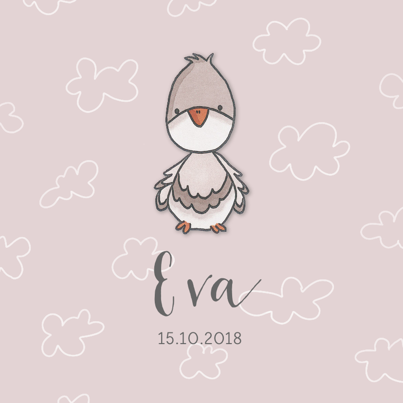Geboortekaartjes - Geboortekaartje duif meisje