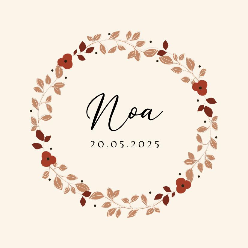 Geboortekaartjes - Geboortekaartje ecru bloemenkrans