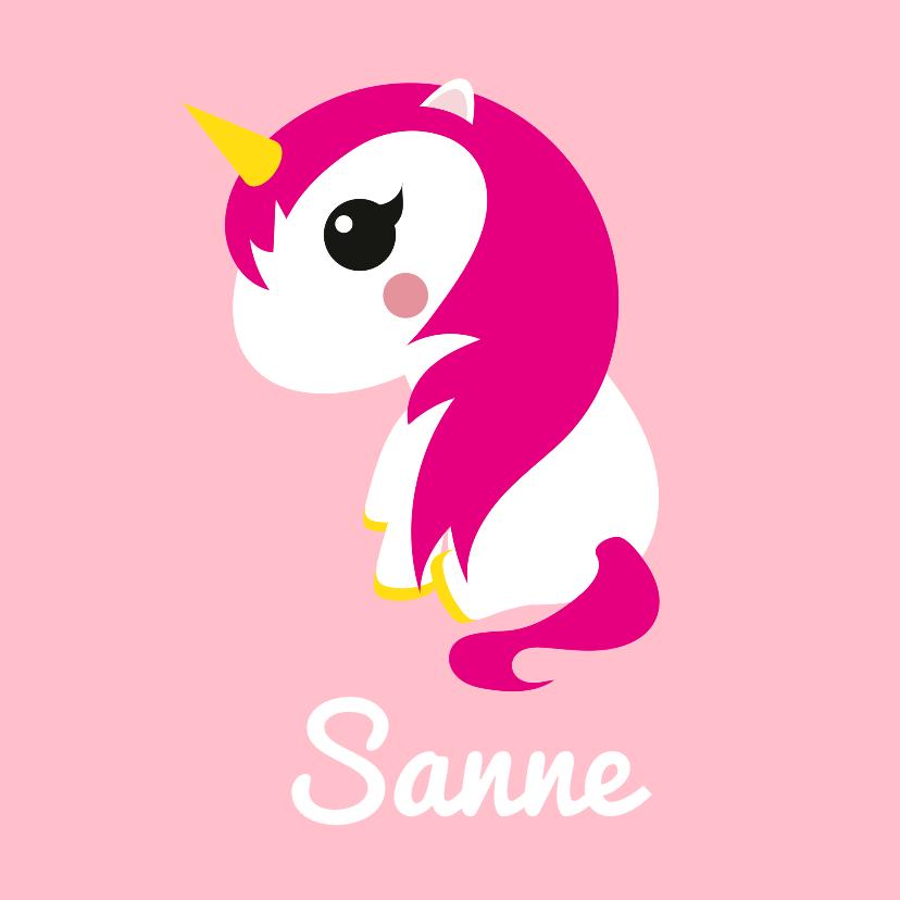Geboortekaartjes - Geboortekaartje eenhoorn met roze haar en sterretjes