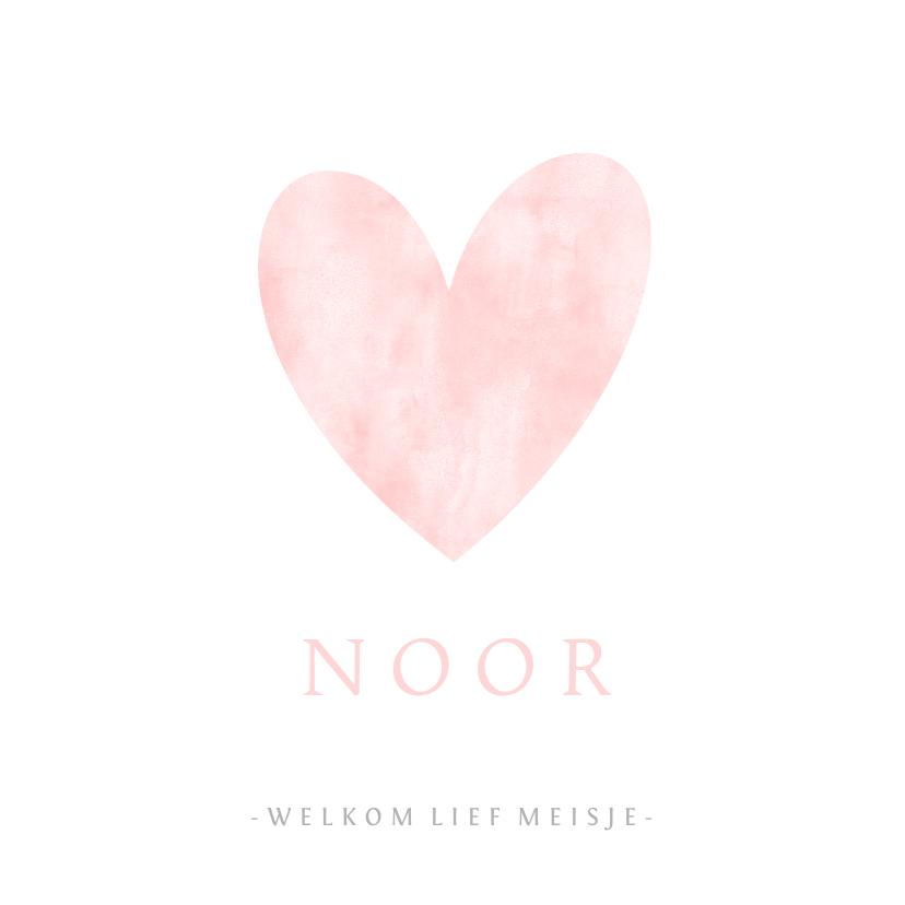 Geboortekaartjes - Geboortekaartje eenvoudig wit met roze waterverf hart