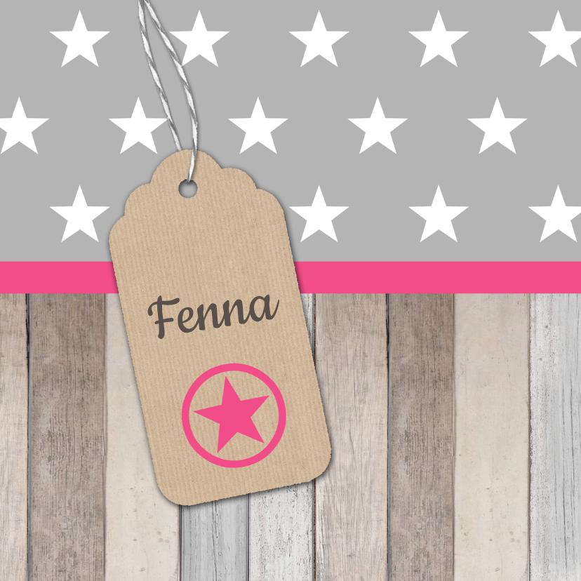 Geboortekaartjes - Geboortekaartje Fenna label ster