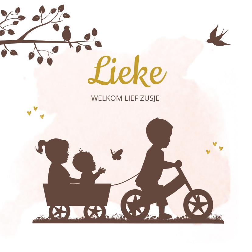 Geboortekaartjes - Geboortekaartje fietsje met kar en broer zus en baby meisje