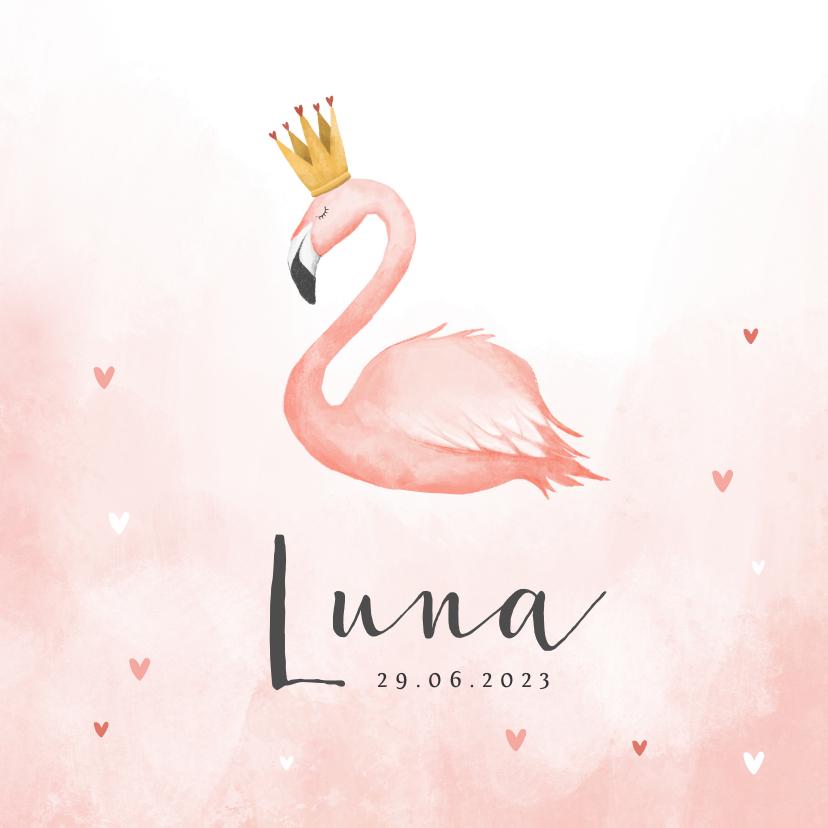 Geboortekaartjes - Geboortekaartje flamingo hartjes meisje verf kroontje