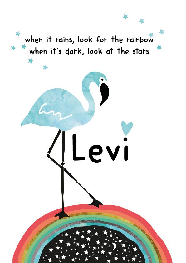 Geboortekaartjes - Geboortekaartje Flamingo Levi