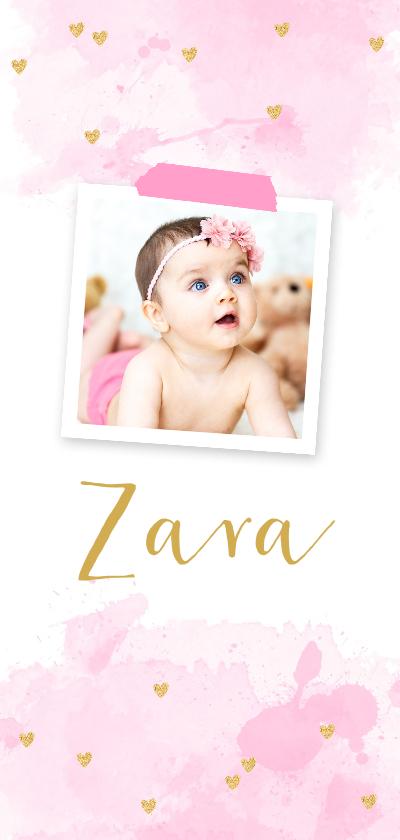 Geboortekaartjes - Geboortekaartje  foto aquarel hartjes roze