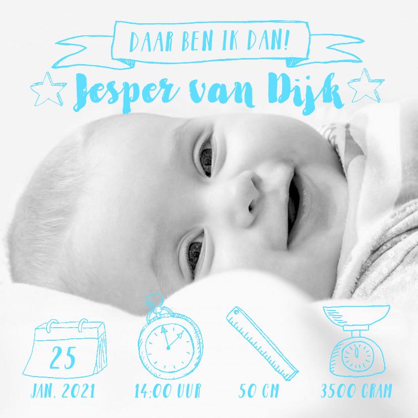 Geboortekaartjes - Geboortekaartje foto blauwe icoontjes handlettering