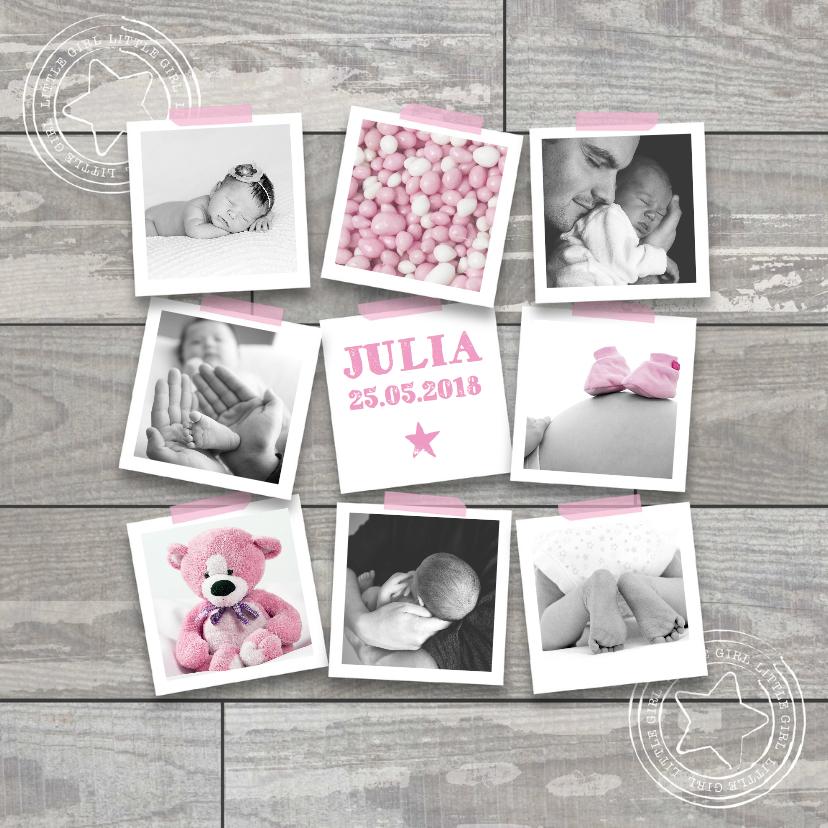 Geboortekaartjes - Geboortekaartje foto collage hip