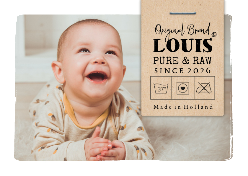 Geboortekaartjes - Geboortekaartje foto & label 'Original Brand'