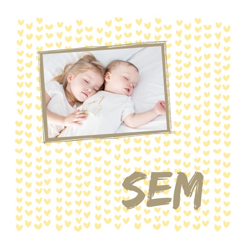 Geboortekaartjes - Geboortekaartje foto geel hartje
