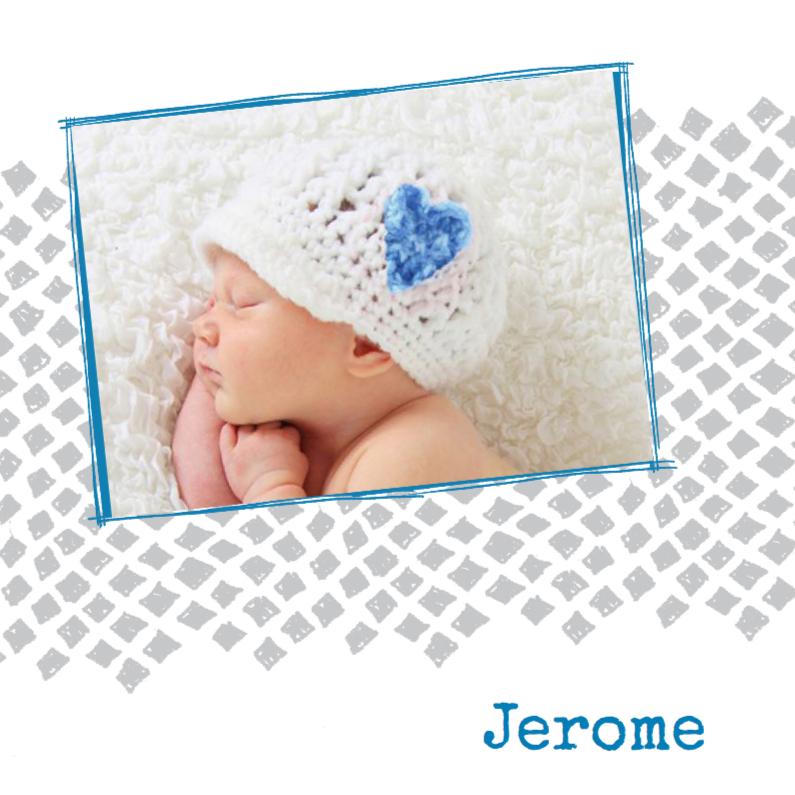 Geboortekaartjes - Geboortekaartje foto grijze ruit