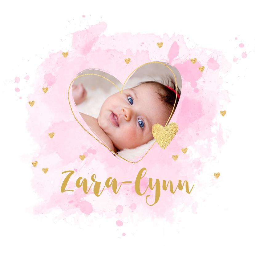 Geboortekaartjes - Geboortekaartje foto hartje aquarel roze