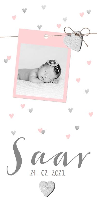 Geboortekaartjes - Geboortekaartje foto hartjes hip