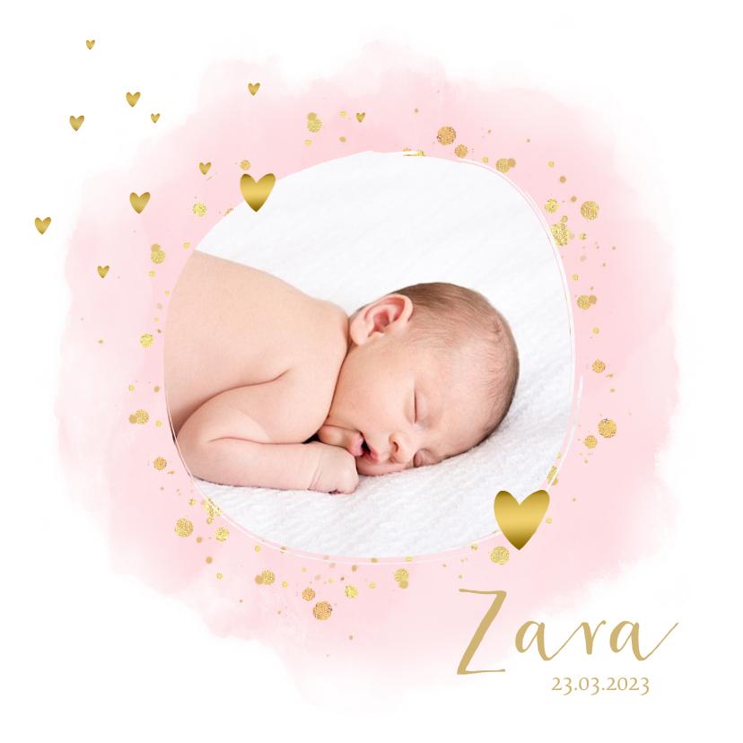 Geboortekaartjes - Geboortekaartje foto hartjes waterverf