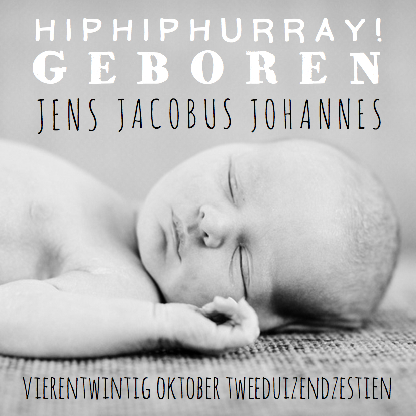 Geboortekaartjes - Geboortekaartje foto hip tekst