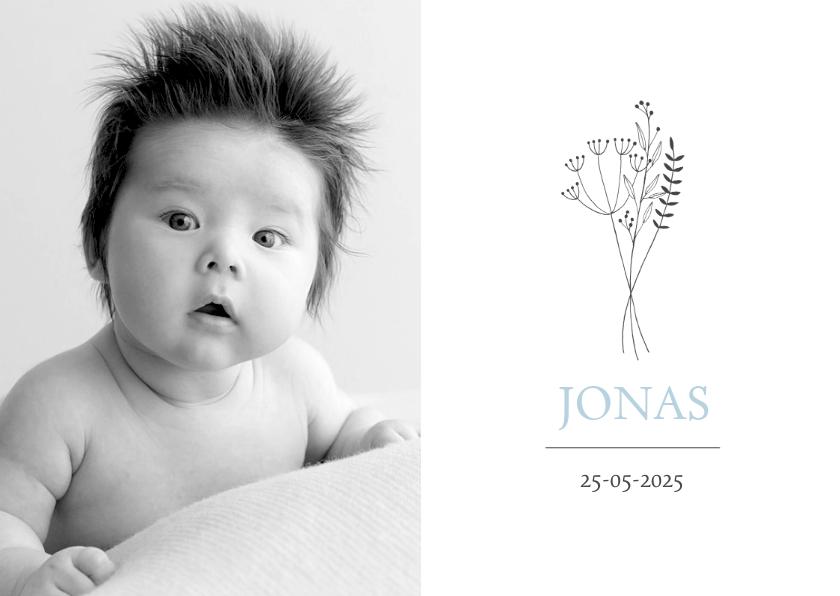Geboortekaartjes - Geboortekaartje foto illustratie boeket jongen